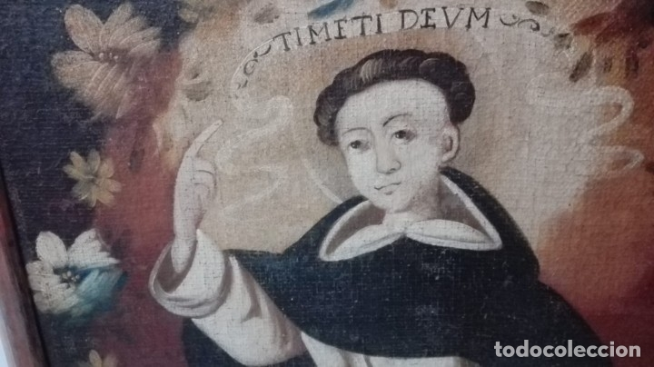Arte: Antiguo óleo sobre lienzo de San Vicente Ferrer. Siglo XVII. 93x73 cm - Foto 10 - 178568201