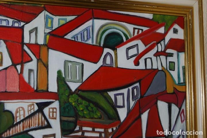 Arte: ÓLEO SOBRE TABLA - PAISAJE CON CASAS - ANA MARÍA DE LA COTERA - Foto 5 - 182591238