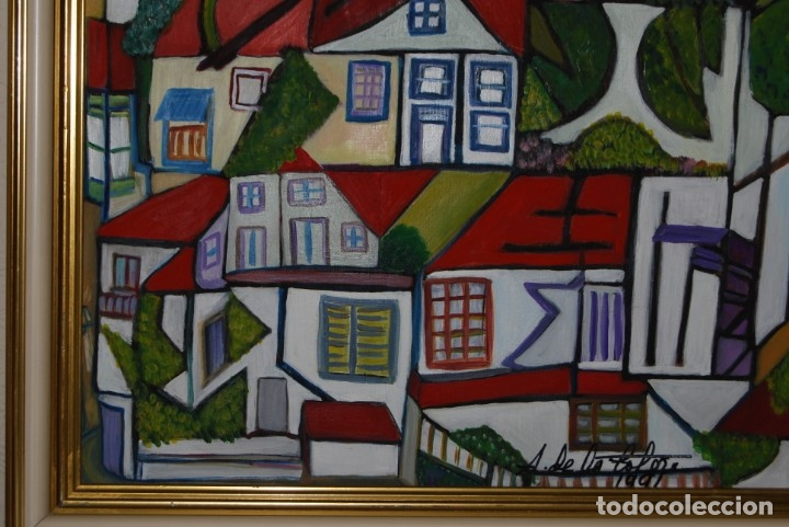 Arte: ÓLEO SOBRE TABLA - PAISAJE CON CASAS - ANA MARÍA DE LA COTERA - Foto 8 - 182591238