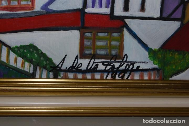 Arte: ÓLEO SOBRE TABLA - PAISAJE CON CASAS - ANA MARÍA DE LA COTERA - Foto 10 - 182591238