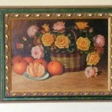 Arte: ANTIGUO BODEGÓN FLORES Y FRUTAS. ÓLEO SOBRE TABLA. J. FERRER. Lote 182121536