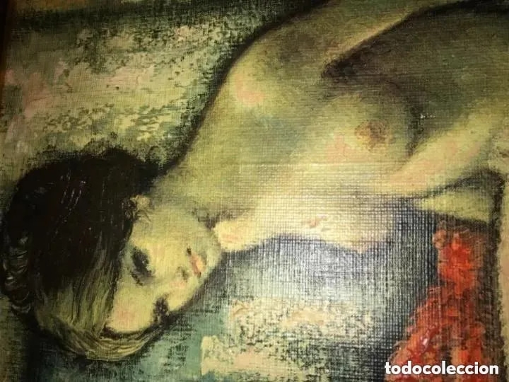 Arte: IMPRESIONANTE Y ANTIGUO OLEO DESNUDO MUJER - Foto 2 - 182620450