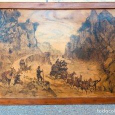 Arte: DIBUJO TINTA MADERA VISTA DEL PASO DE DESPEÑAPERROS DILIGENCIA AÑOS 70 FIRMADO FECHADO. Lote 182626108