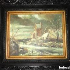 Arte: ANTIGUO OLEO ESCENA CAMPESTRE PUEBLO FIRMADO A. RUBIO. Lote 182631993