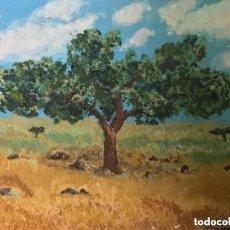Arte: ÓLEO EN TABLA ÁRBOL CAMPO FIRMADO V. ALBARRAN. Lote 182641980