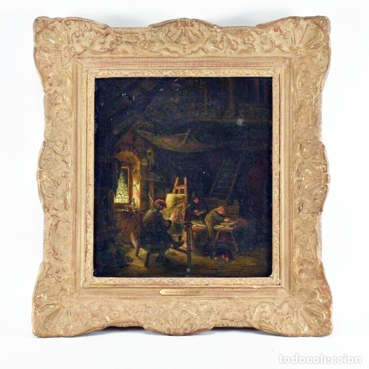 ADRIAN VAN OSTADE / ATRIBUIDO ORIGINAL OLEO SOBRE LIENZO S.XVIII (Arte - Pintura - Pintura al Óleo Antigua siglo XVIII)