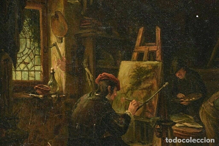 Arte: Adrian van Ostade / Atribuido original oleo sobre lienzo S.XVIII - Foto 2 - 182653318