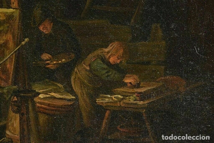 Arte: Adrian van Ostade / Atribuido original oleo sobre lienzo S.XVIII - Foto 3 - 182653318