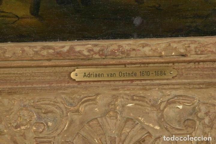 Arte: Adrian van Ostade / Atribuido original oleo sobre lienzo S.XVIII - Foto 5 - 182653318