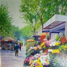 Arte: RAMBLA DE LAS FLORES POR J. MARIN. Lote 182678670
