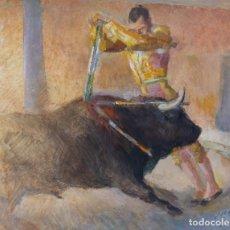 Arte: ÓLEO Y GOUACHE SOBRE PAPEL ESCENA TAURINA FIRMA ILEGIBLE SIGLO XX. Lote 182695875