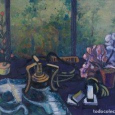 Arte: ISABEL SERRAHIMA (1934-1999) ÓLEO SOBRE LIENZO BODEGÓN FLORES Y OBJETOS . Lote 182696028