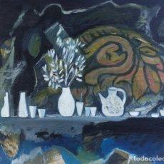 Arte: ISABEL SERRAHIMA (1934-1999) ÓLEO Y COLLAGE SOBRE LIENZO BODEGÓN JARRONES Y VASOS . Lote 182696037