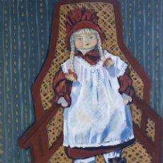 Arte: ISABEL SERRAHIMA ÓLEO SOBRE LIENZO MUÑECA EN SILLA FIRMADO Y FECHADO 1998. Lote 182696042