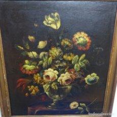 Arte: ÓLEO SOBRE TELA ANONIMO DEL S.XIX.BODEGON FLORES.BUEN TRAZO.MAESTRO.. Lote 182729511