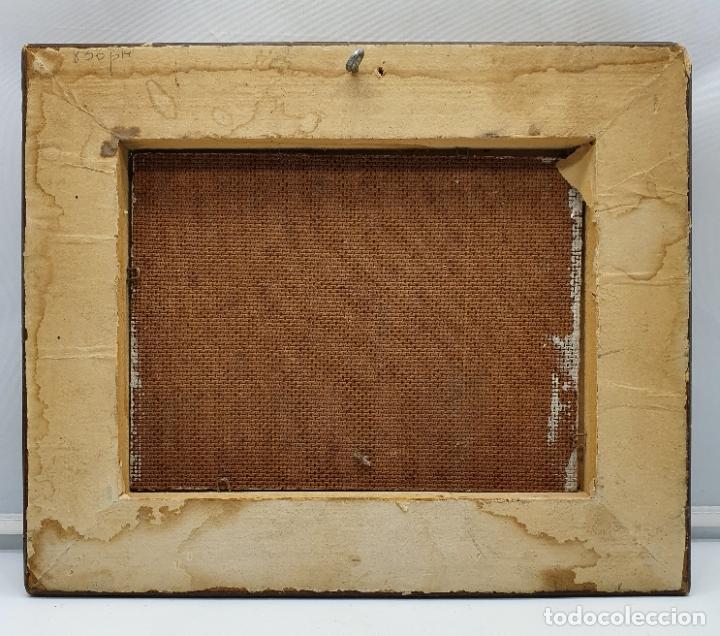 Arte: Cuadro antiguo de imagen paisajista en oleo sobre tablilla enmarcado en madera, firmado . - Foto 5 - 182756642
