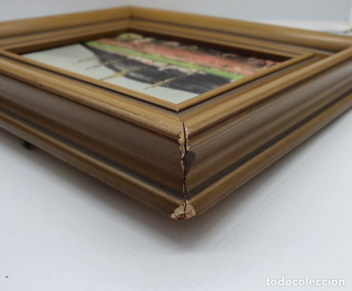 Arte: Cuadro antiguo de imagen paisajista en oleo sobre tablilla enmarcado en madera, firmado . - Foto 6 - 182756642