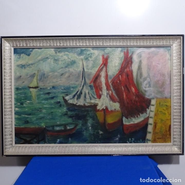 OLEO EXPRESIONISTA SOBRE TELA DE FIRMA ILEGIBLE. (Arte - Pintura - Pintura al Óleo Contemporánea )