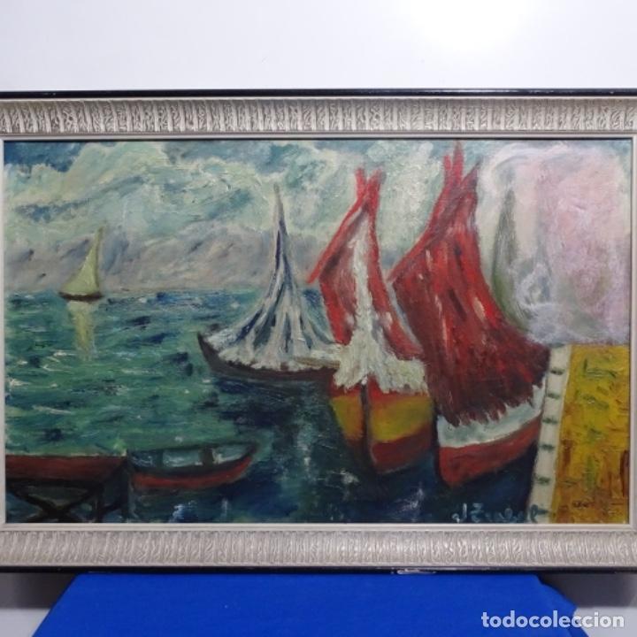 Arte: Oleo expresionista sobre tela de firma ilegible. - Foto 2 - 182805435
