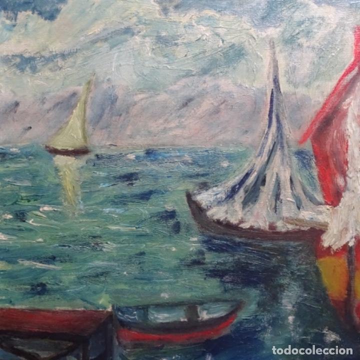 Arte: Oleo expresionista sobre tela de firma ilegible. - Foto 3 - 182805435