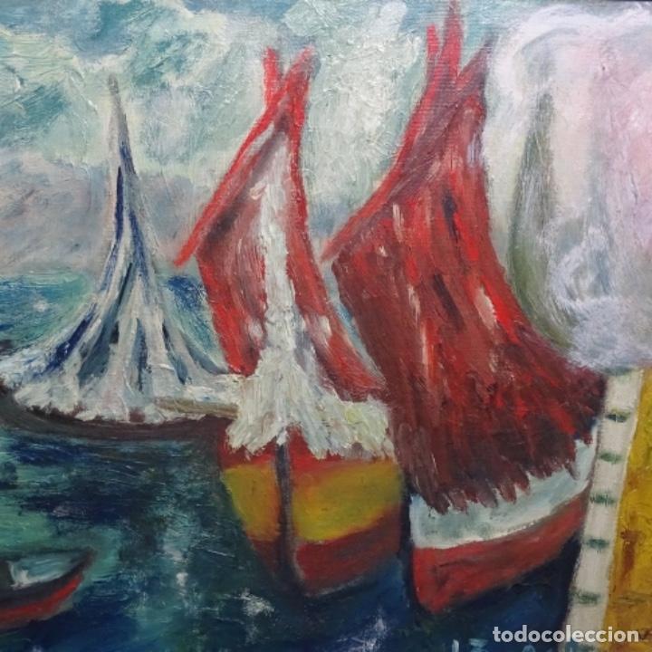 Arte: Oleo expresionista sobre tela de firma ilegible. - Foto 4 - 182805435