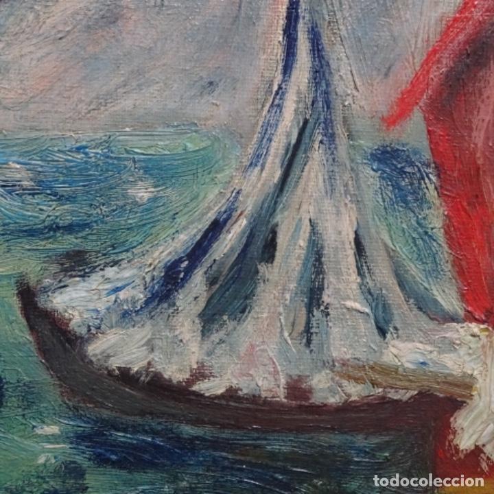 Arte: Oleo expresionista sobre tela de firma ilegible. - Foto 9 - 182805435