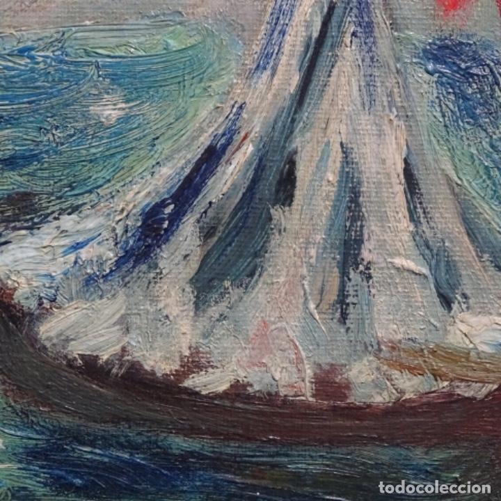 Arte: Oleo expresionista sobre tela de firma ilegible. - Foto 12 - 182805435