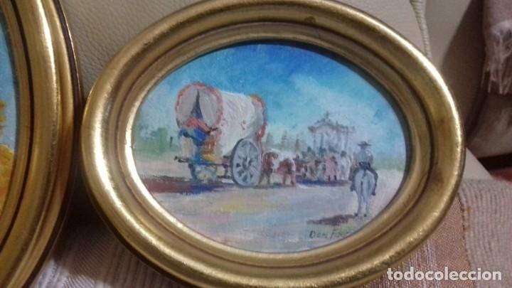 Arte: PINTURAS EN OVALOS DE MADERA Y PAN DE ORO. EL ROCIO. 21X16 Y 15X12,3. - Foto 14 - 158980642