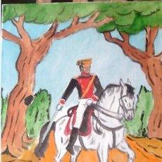 Arte: GUARDIA CIVIL A CABALLO EN TRAJE DE GALA.ÓLEO SOBRE LIENZO EN BASTIDOR, 40X50 CM. CRESPO. Lote 182815292