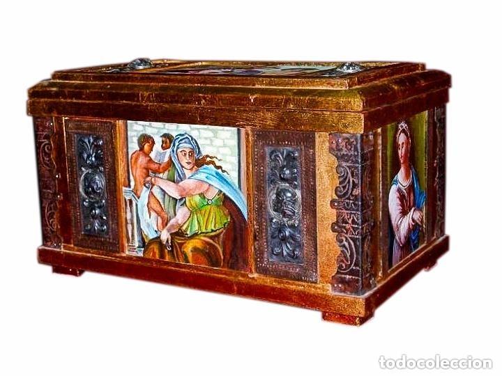 PRECIOSA ARQUETA (OLEO, ORFEBRERÍA) 46 X 26 X 25 CM (Arte - Pintura - Pintura al Óleo Antigua sin fecha definida)