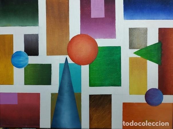 OLEO SOBRE LIENZO, UNIVERSO GEOMÉTRICO, FIRMADO (Arte - Pintura - Pintura al Óleo Moderna sin fecha definida)