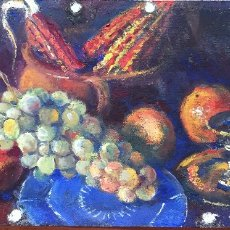 Arte: VIKTOR KALLINIK GOUSSEF (1893-1980) BODEGÓN, OLEO SOBRE PLACA , SIN MARCO 60 X 30 CM. 1973. Lote 182911681