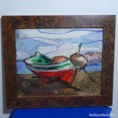 Arte: OLEO SOBRE TABLEX DE MIQUEL TORNE DE SAMIR.BARCO EN LA ARENA.ENMARCADO.. Lote 182912540