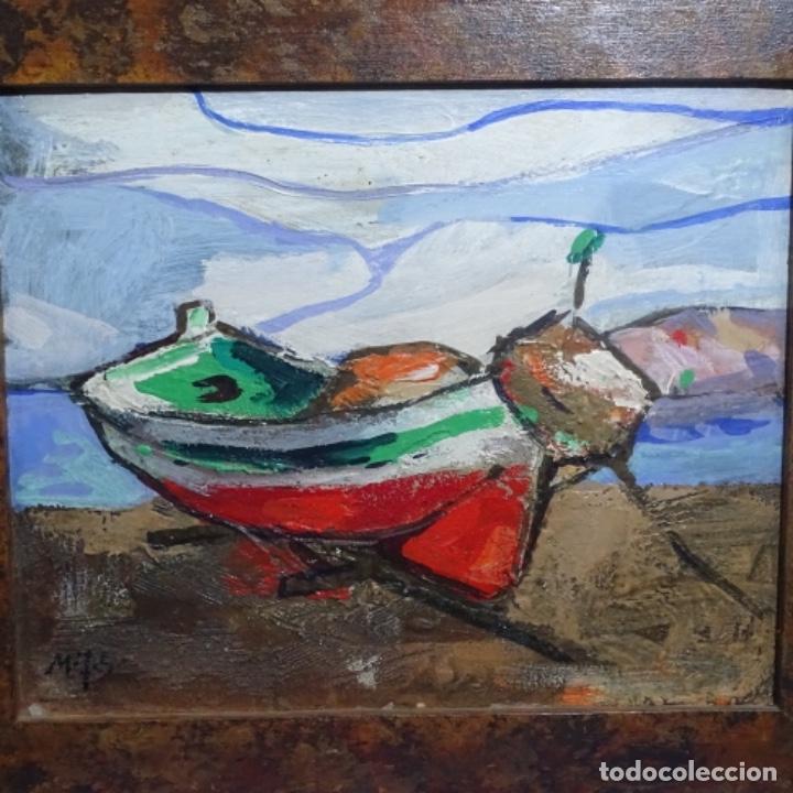 Arte: Oleo sobre tablex de Miquel torne de samir.barco en la arena.enmarcado. - Foto 2 - 182912540