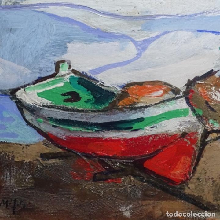 Arte: Oleo sobre tablex de Miquel torne de samir.barco en la arena.enmarcado. - Foto 3 - 182912540