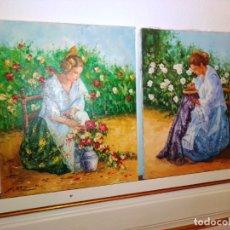 Arte: PAREJA DE ANTIGUAS PINTURAS CON FALLERAS, FIRMADAS. Lote 183008845