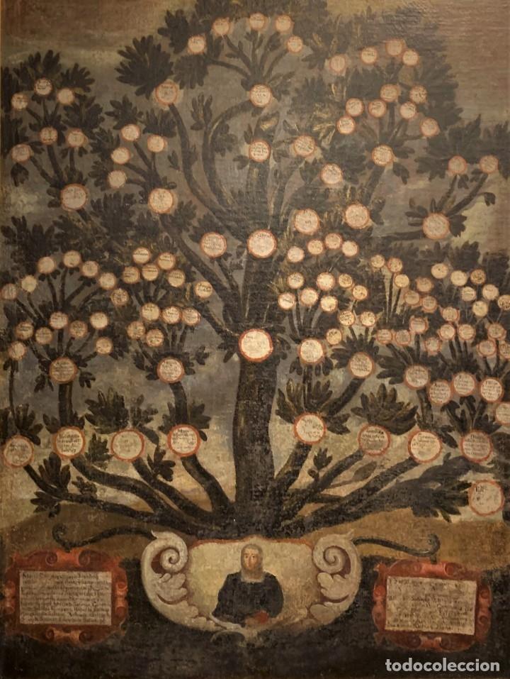 IMPRESIONANTE ARBOL GENEALOGICO DE FAMILIA NOBLE CASTELLANA, SIGLO XVI, GUADALAJARA (Arte - Pintura - Pintura al Óleo Antigua siglo XVI)