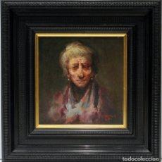Arte: CARA DE VIEJA - JOSÉ PALOMAR - OLEO SOBRE TABLA - 36X36 CM. Lote 181356376