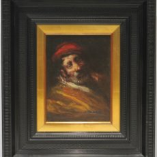 Arte: CARA DE VIEJO - JOSÉ PALOMAR - OLEO SOBRE TABLA - 37X32 CM. Lote 181356403