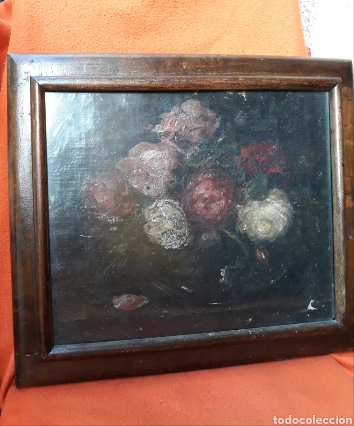 MOTIVO FLORAL O/L (SALGA) (Arte - Pintura - Pintura al Óleo Antigua siglo XVIII)