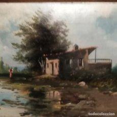 Arte: ANTIGUAS PINTURAS AL ÓLEO DEL SIGLO XIX SOBRE TABLA DE LA ESCUELA ESPAÑOLA, PAISAJES FIRMADOS. Lote 183093056