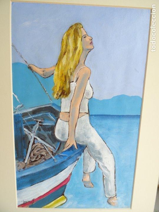 ACRILICO SOBRE CARTULINA - DESDE EL BARCO - ARTISTA FERRÉS M. (Arte - Pintura Directa del Autor)