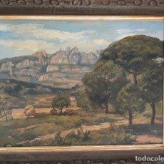 Arte: ODENA, ISIDRE ( PAISAJE MONTSERRAT VISTA DESDE VACARISSES )PINTOR . Lote 183177913