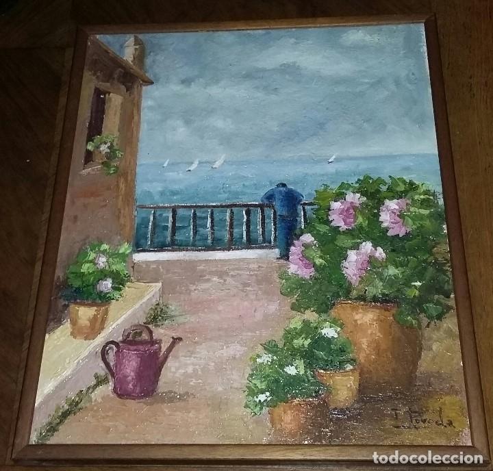 PAISAJE MARINO. PINTURA AL ÓLEO FIRMADA POR POVEDA. CON MARCO. (Arte - Pintura - Pintura al Óleo Contemporánea )