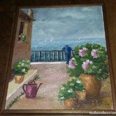 Arte: PAISAJE MARINO. PINTURA AL ÓLEO FIRMADA POR POVEDA. CON MARCO.. Lote 183206466