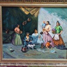 Arte: CUADRO AL ÓLEO SOBRE LIENZO. ESCENA COSTUMBRISTA. FIRMADO Y ENMARCADO.. Lote 183280048