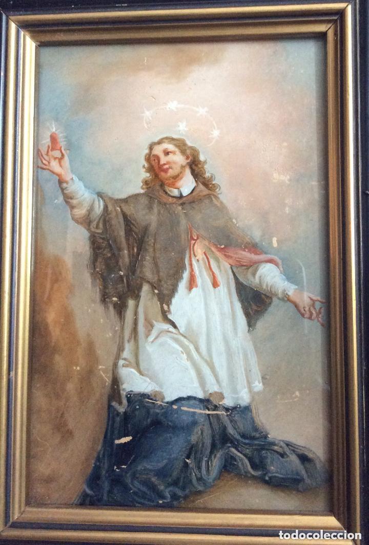 Arte: SIGLO XVIII,san Juan Nepomuceno, patrón de los confesores,ÓLEO SOBRE CRISTAL 26X21 Cm - Foto 2 - 183290650
