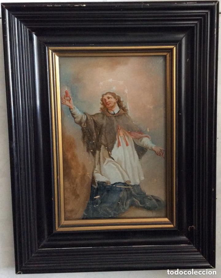 Arte: SIGLO XVIII,san Juan Nepomuceno, patrón de los confesores,ÓLEO SOBRE CRISTAL 26X21 Cm - Foto 3 - 183290650