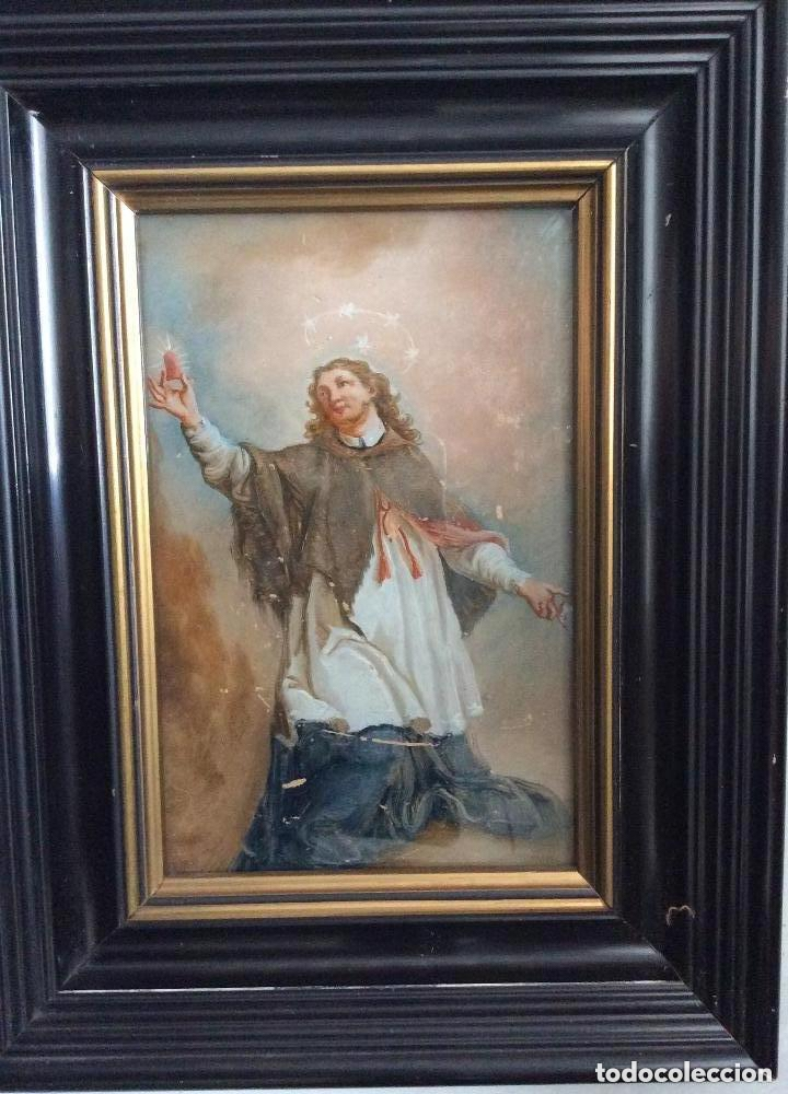 SIGLO XVIII,SAN JUAN NEPOMUCENO, PATRÓN DE LOS CONFESORES,ÓLEO SOBRE CRISTAL 26X21 CM (Arte - Pintura - Pintura al Óleo Antigua sin fecha definida)