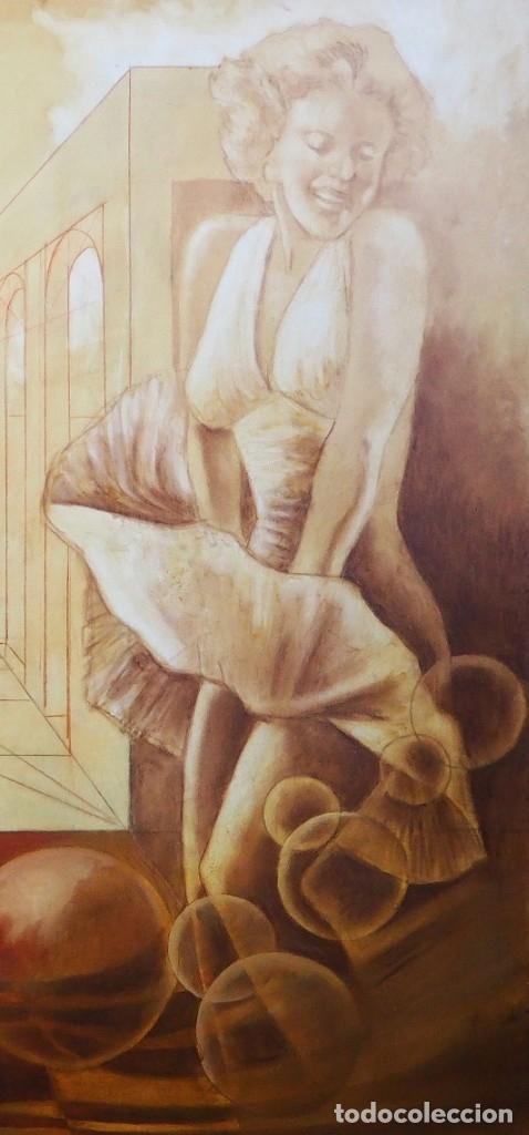 Arte: CELEDONIO PERELLÓN. ÓLEO GRAN FORMATO. COMPOSICIÓN CON MARILYN. FINALES DE LOS 90 - Foto 5 - 183316588